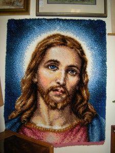 Retro Rug Hooking of Jesus