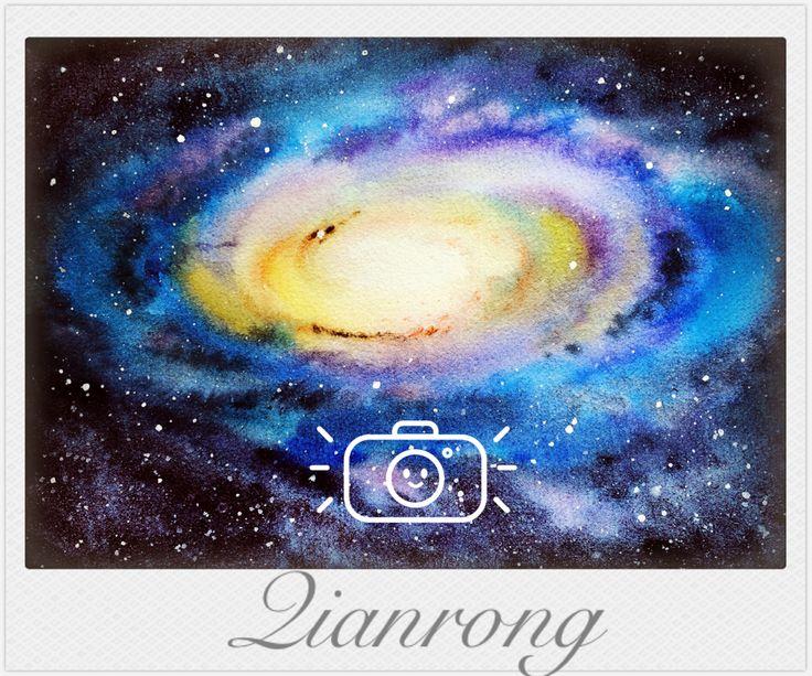 #watercolor #nightsky #nebula #universe art work by Qianrong