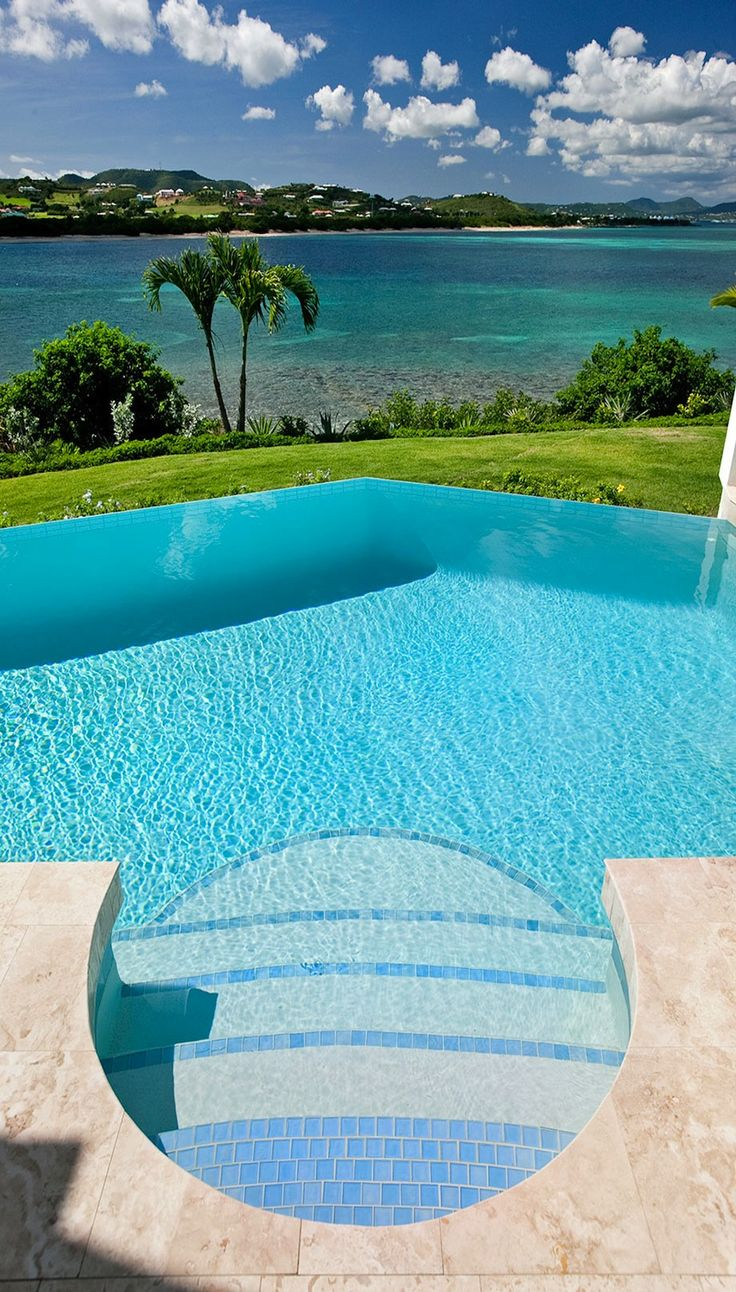 Knife edge pool 2 modern pool - Two Sided Infinity Edge With Island Views St