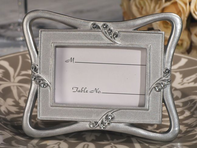 contemporary silver place card frame favor