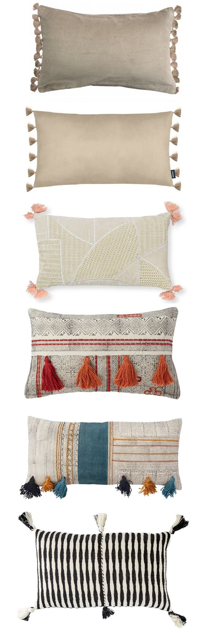 decorative rectangular tassel cushions, moodboard