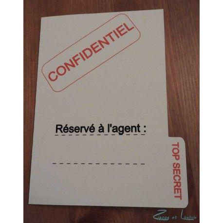 Patron gratuit pour des invitations en forme de dossier top secret, parfait pour des anniversaires sur le thème des agents secrets !