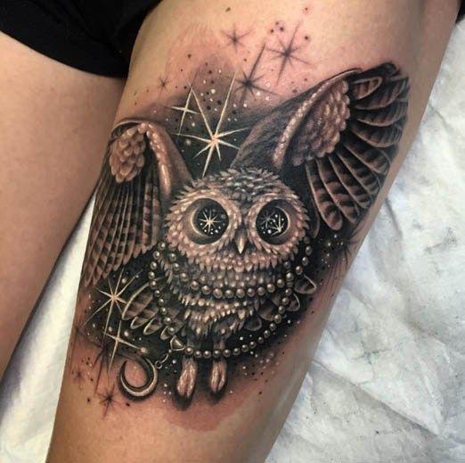 This little owl by Ryan is so adorable. #inked #inkedgirls #freshlyinked #owl #tattoo #artist #model #amazing #idea #bird