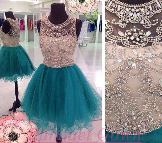 Short Beaded Homecoming dress,Blue prom Dress,Charming Prom Dresses,Party dress…