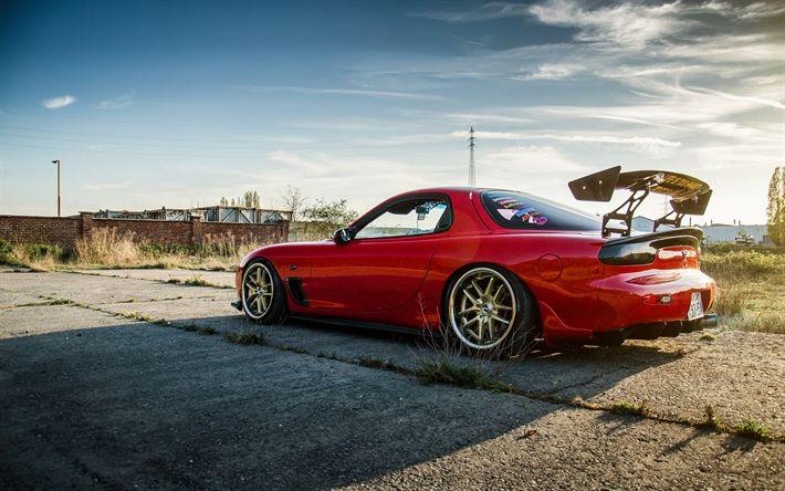 Descargar fondos de pantalla Mazda RX-7, los coches japoneses, tuning, sportcars, rojo RX-7, la postura, Mazda