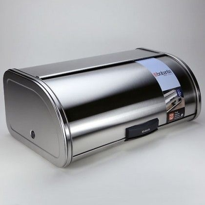 Consider this stainless steel bread box by Brabantia® for a contemporary and attractive way to store bread. Features a unique 'Storage Touch Bin' system – the roll top door opens silently with a light touch
