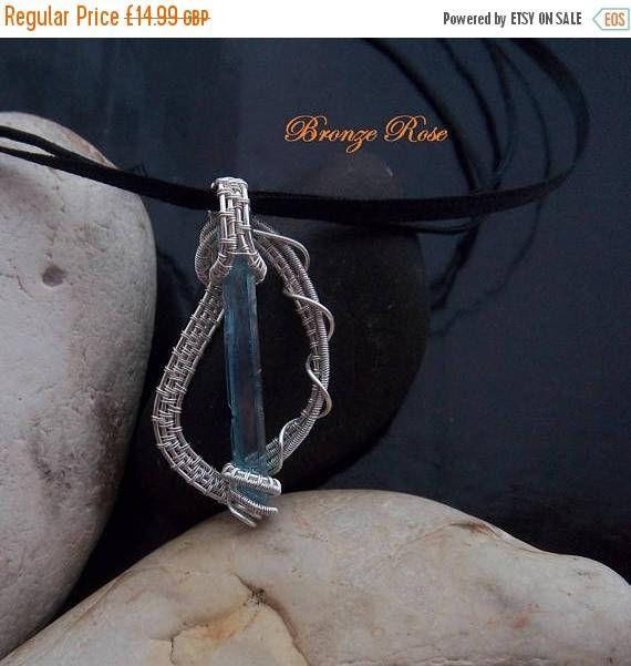 ON SALE Hand crafted wire wrapped aqua aura quartz crystal