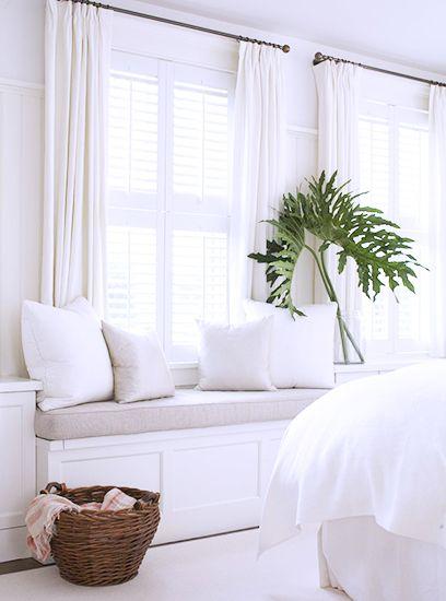 5 Tips for Mastering a Perfect White Bedroom// window seat, plantation shutters