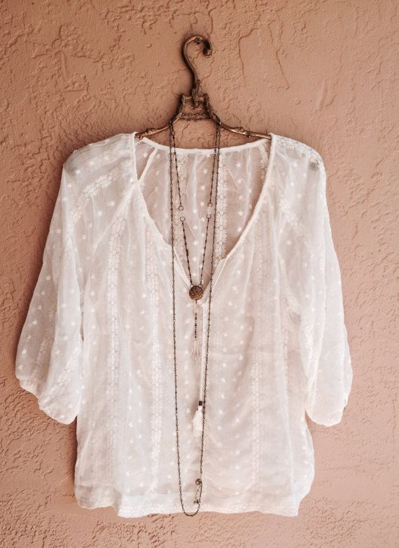 Bohemian sheer gypsy peasant top with embroidery by BohoAngels, $60.00