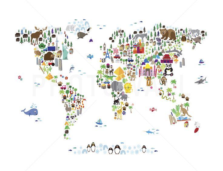 Wereldkaart - Animal Map Of The World - Fotobehang & Behang - Photowall