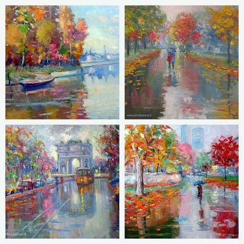 paesaggi autunnali dipinti da Giuseppe Garaone