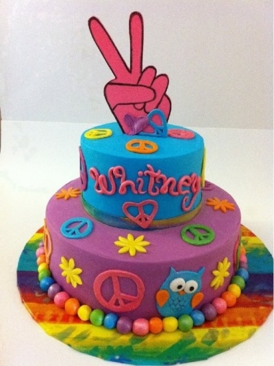 Peace Sign/Tie-Dye Cake By mfruchey on CakeCentral.com
