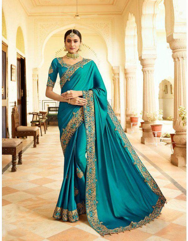 6a1379914d4a3 Plush Peacock Blue Designer Saree