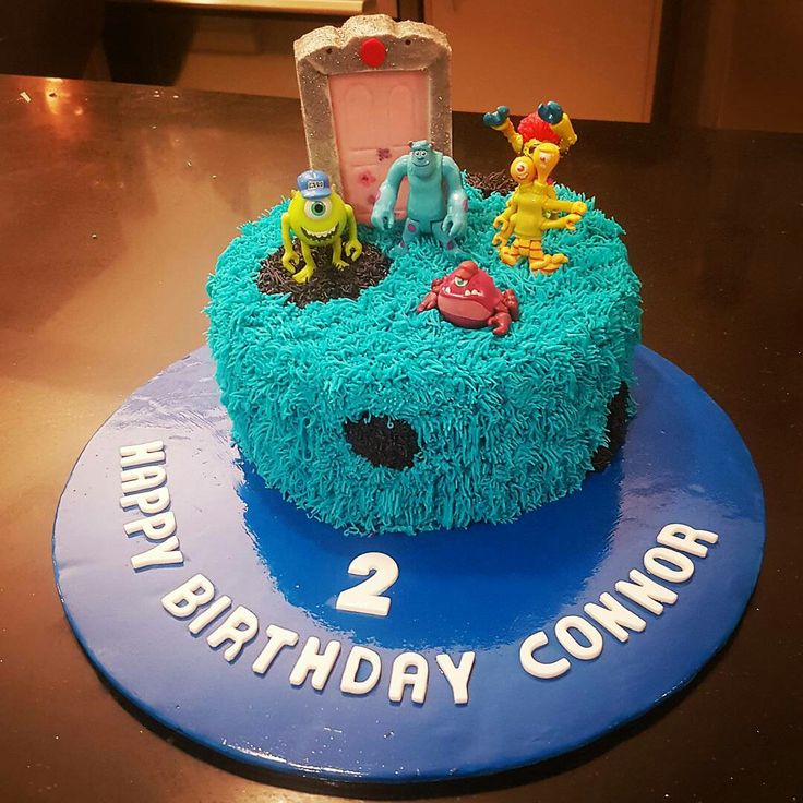 2nd birthday Monsters Inc cake. With chocolate and raspberry white choc layers.
