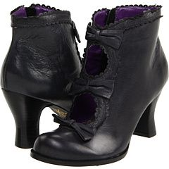 Boots Pagan Wicca Witch:  Witchy black boots with lace, bows, and purple interior.