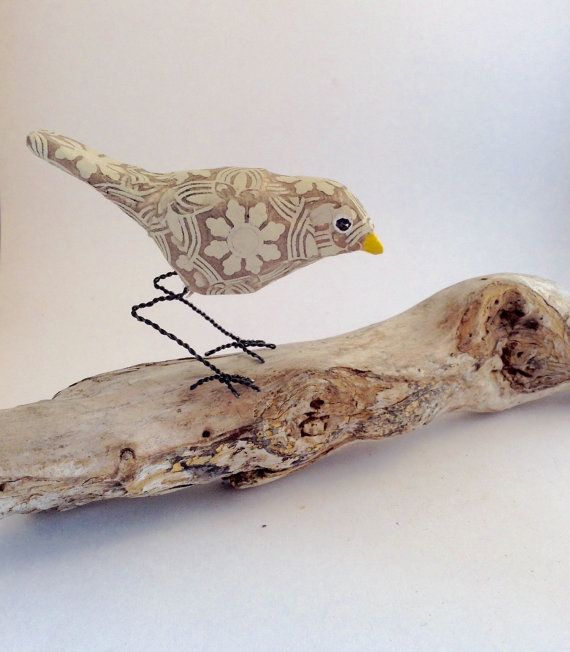 Tiny patterned bird of Paperclay and Metal Bird by maritmoss