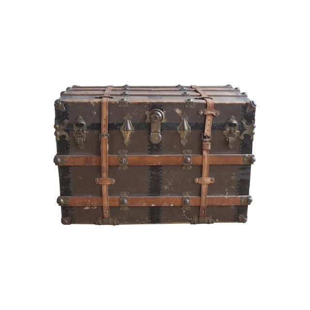 Image Of 19 C Eagle Lock Co Wood Amp Leather Steamer Trunk