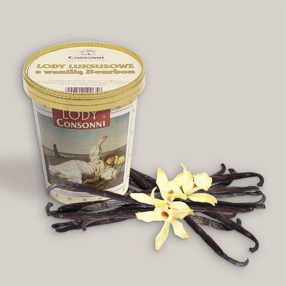 """Lody luksusowe z wanilią Bourbon Madagaskar, wyspa pachnąca wanilią, pochodzi z niej 80% zbiorów wanilii, ale tylko odmiana Bourbon została uznana za najwartościowszą. """"Madagaskar bourbon"""" uznano za najlepszą klasę strąków wanilii na świecie, która jako jedyna daje 100% esencji waniliowego smaku i zapachu. Aż trudno uwierzyć, że do XIX wieku ta przyprawa była w Europie właściwie nieznana."""