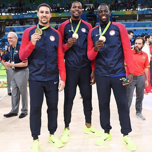 Klay Thompson, Kevin Durant, & Draymond Green.