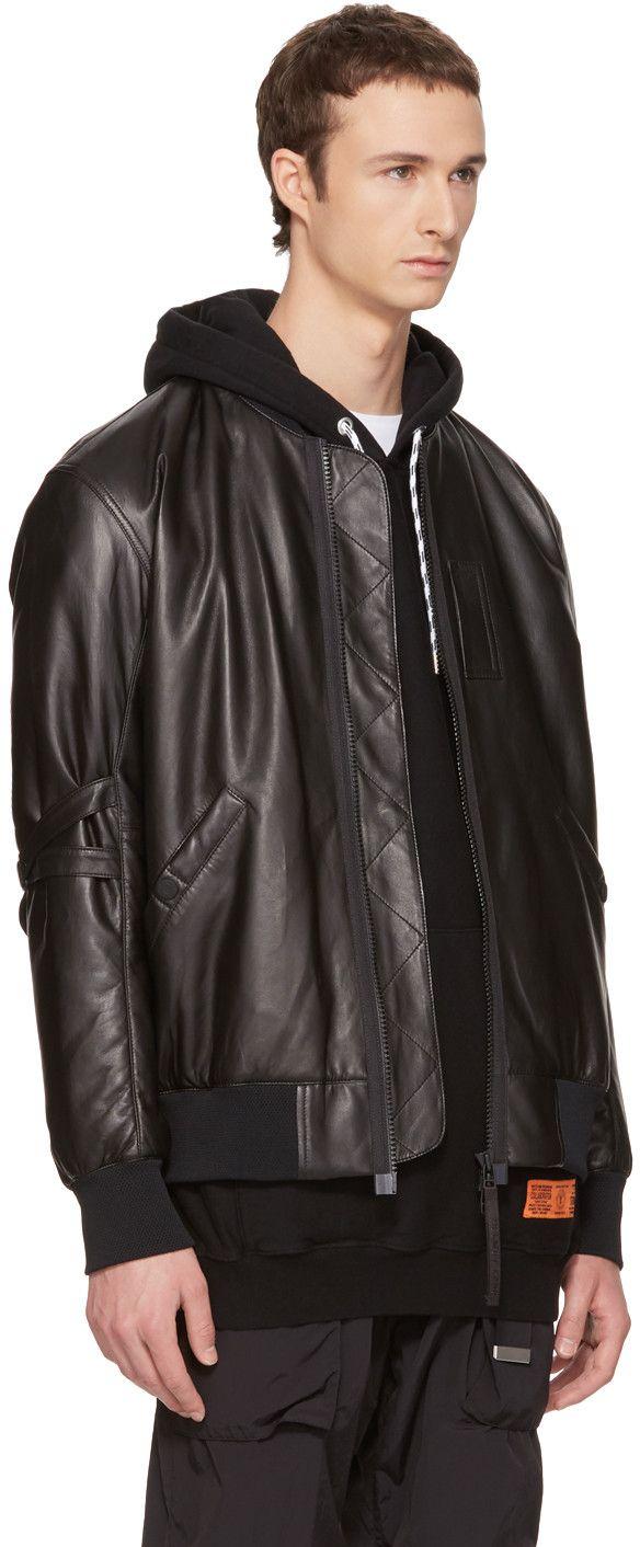 Helmut Lang - Black Leather Bomber Jacket