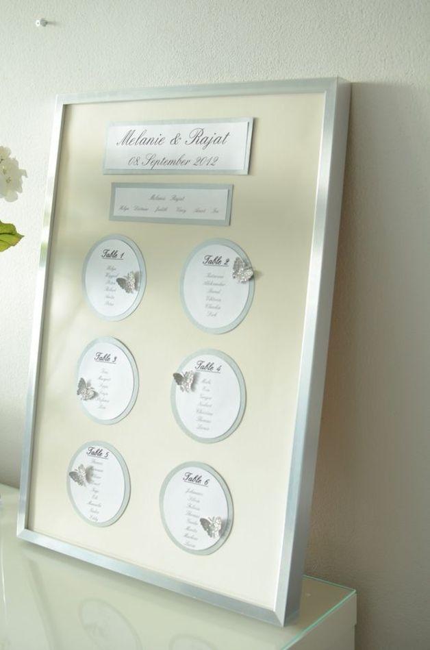 Hochzeitsdeko - Tischplan für Hochzeitstafel - Schmetterling - ein Designerstück von little-pink-butterfly bei DaWanda