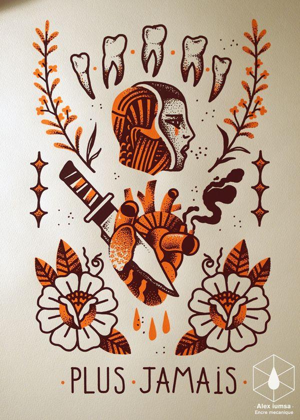 #illustration #art #draw #screenprint #tattoo #flashset