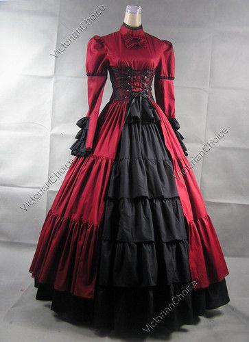 Victorian Corset Lolita Ball Gown Prom Dress Steampunk Reenactment 068 XL