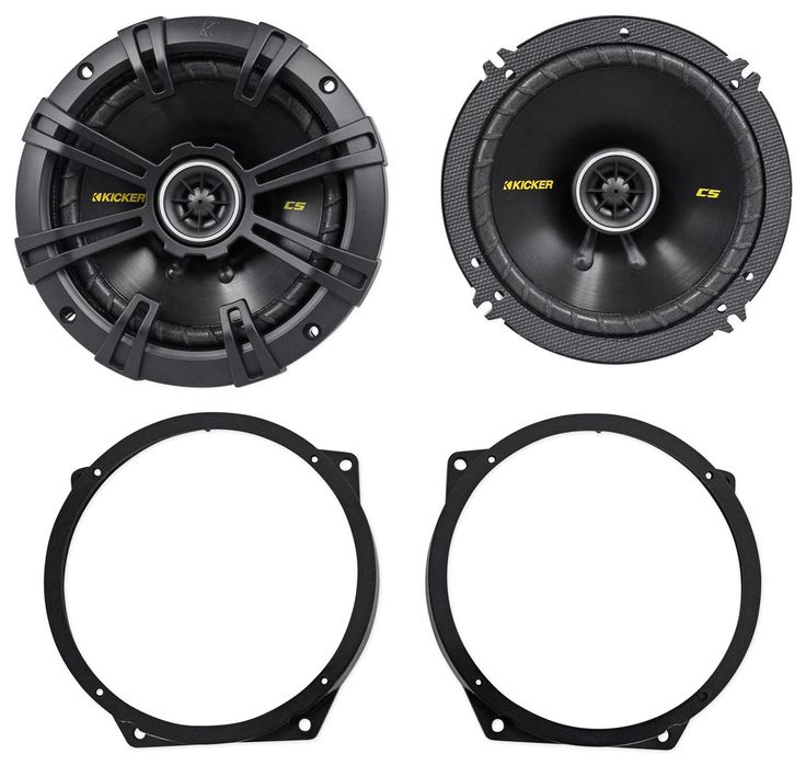 "Package: Pair of Kicker 40CS654 6.5"" 4-Ohm 2-Way Car Audio Coaxial Speakers Totaling 600 Watt + Metra 82-9302 02-08 Mini Cooper 6"" To 6.75"" Front Speaker Adapter Bracket Plates Made Of Steel. 6-1/2"" 300 Watt 4-Ohm 2-Way Car Audio Coaxial Speakers. 600 Watts Peak Power Total Per Pair / 300 Watts Peak Power Per Speaker. 200 Watts RMS Total Power Per Pair / 100 Watts RMS Per Speaker. Reliable, remarkable-sounding coaxial for easy drop-in, factory upgrades. Reduced-depth baskets allow fitment..."