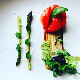 Insalata di commodore e asparago. (Tomato and asparagus salad) A simple approach to salad deconstructed and it looks beautiful. Perfect for dining in the sun with a chilled glass of Gavi de Gavi. By Matthew Luca