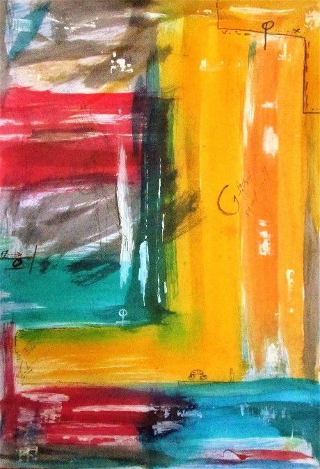 This is an original art piece, not a mass produced, not print. Abstract painting ink signed . Modern technique