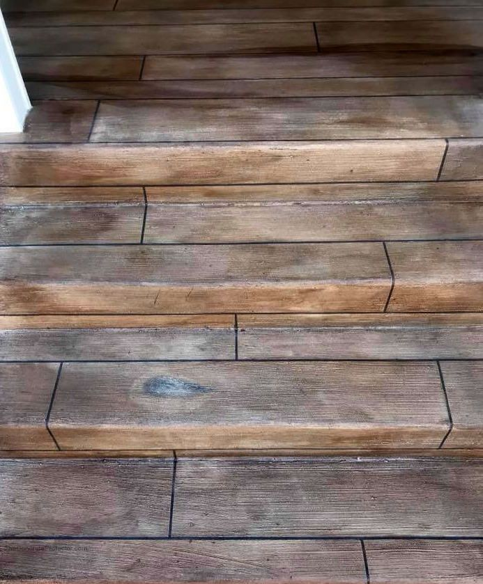 Rustic Concrete Wood Porch- Tailored Concrete Coatings- Frederick MD