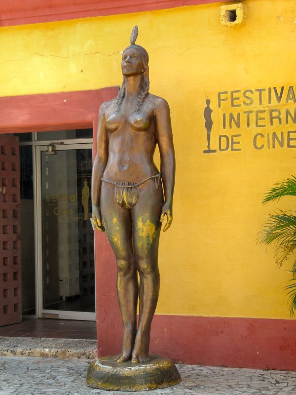 The statue of an Indian maiden, Catalina outside the home of the Cartagena International Film Festival. She has a Pocahontas type of history in Columbia
