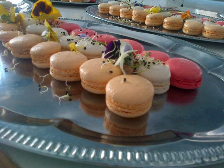 Belle's Patisserie inspired savoury macarons. Black peppercorn, butternut and tomato flavours.