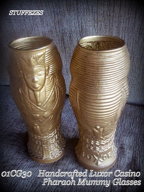 Casino souvenir glassware Luxor Casino Egyptian mummy Handcrafted gold gilt drinking glasses Las Vegas casino glasses 9 inch glasses