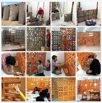 as papeleiras: ❤ era uma vez uma parede de cobogós laranjas...