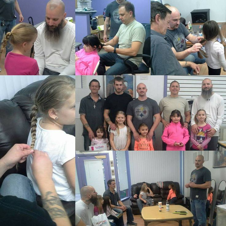 Daddy Daughter Hair Factory hits Pittsburgh! More dads learning how to do hair. Thanks to another awesome dad volunteering his time. We are growing. Thank you Reddit :)