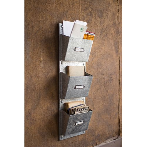 Metal Vertical Three Wall Pocket With Card Holder Miscellaneous Office & Desk Accessories