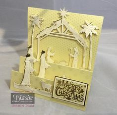 Front stepper card using the Sara Signature Traditional Christmas range, Away in a Manger die. Designed by Sam Healey. #crafterscompanion #Christmas