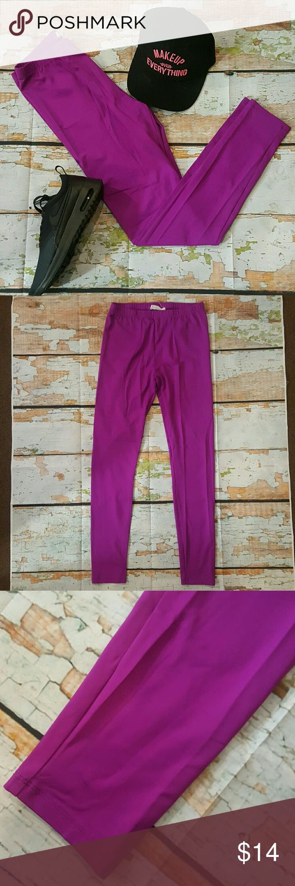 Forever 21 xxii Raspberry Leggings M Like new condition  Super Stretch Similar to a thick bathing suit material  Moisture wick Legging gym pants Bright purple Raspberry color  Bundle and Save Forever 21 Pants Leggings