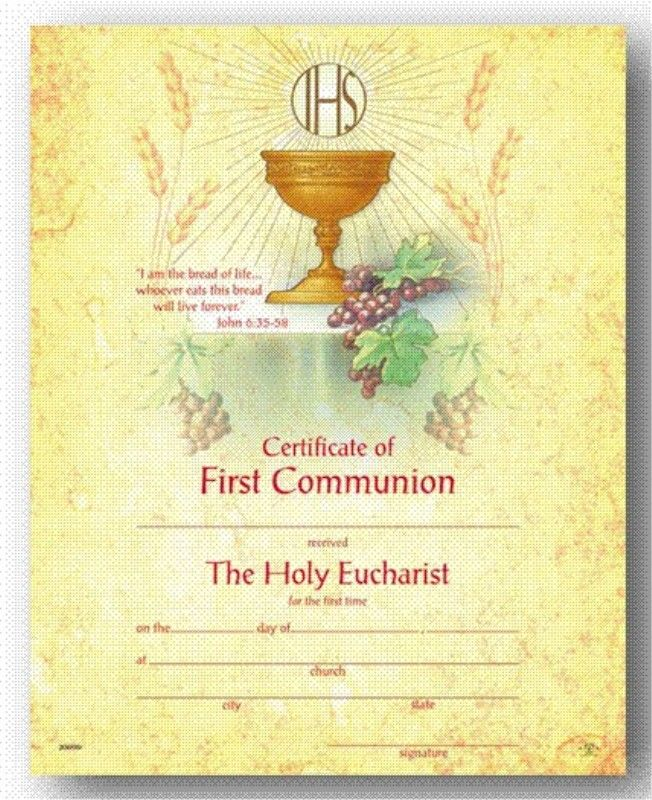 catholic first communion certificate template image