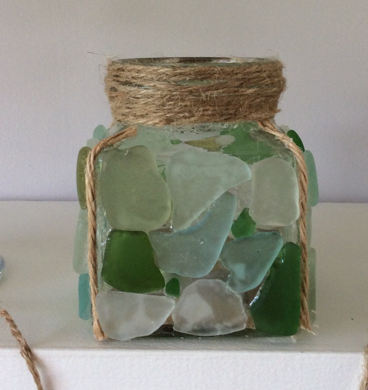 Tea light holder with sea glass
