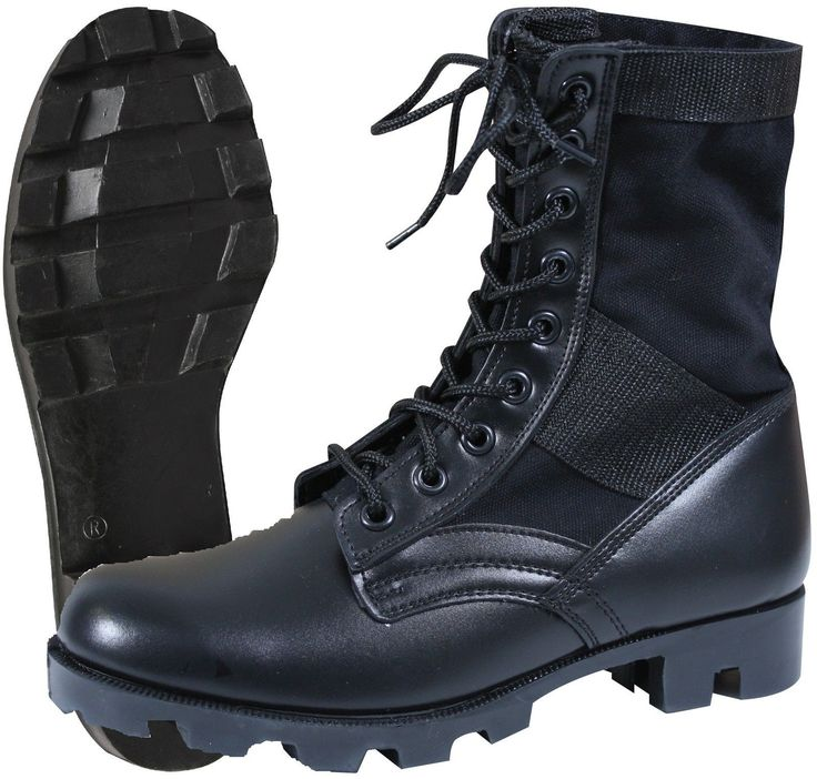 """- GI Style Military Steel Toe Jungle Boots Color: Black - Canvas & Nylon Upper - Leather Toe & Heel - Steel Shank - Black Rubber """"Panama"""" Sole Sizes Available: 5-13 Regular Width - Great Standard Mili"""