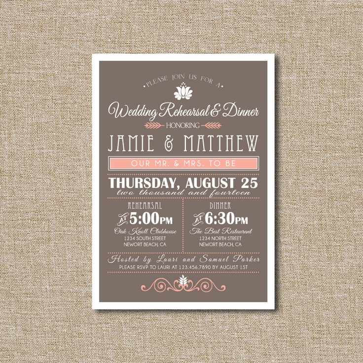 creative wording for rehearsal dinner invitations%0A Wedding Rehearsal DInner Invitation Peach and Brown by