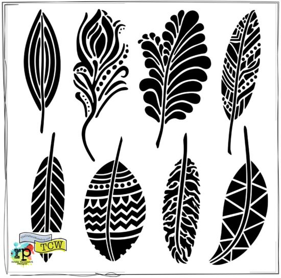 Help My Ronda - Today I'm kicking off this party for some of mynew stencils!  Feathers are a hot trend! I created 8 crazy cool designs to inspire you. From plumage's to peacock feathers, these hand drawn FANCY FEATHERS (TCW 389) are sure to wow any of your creations.