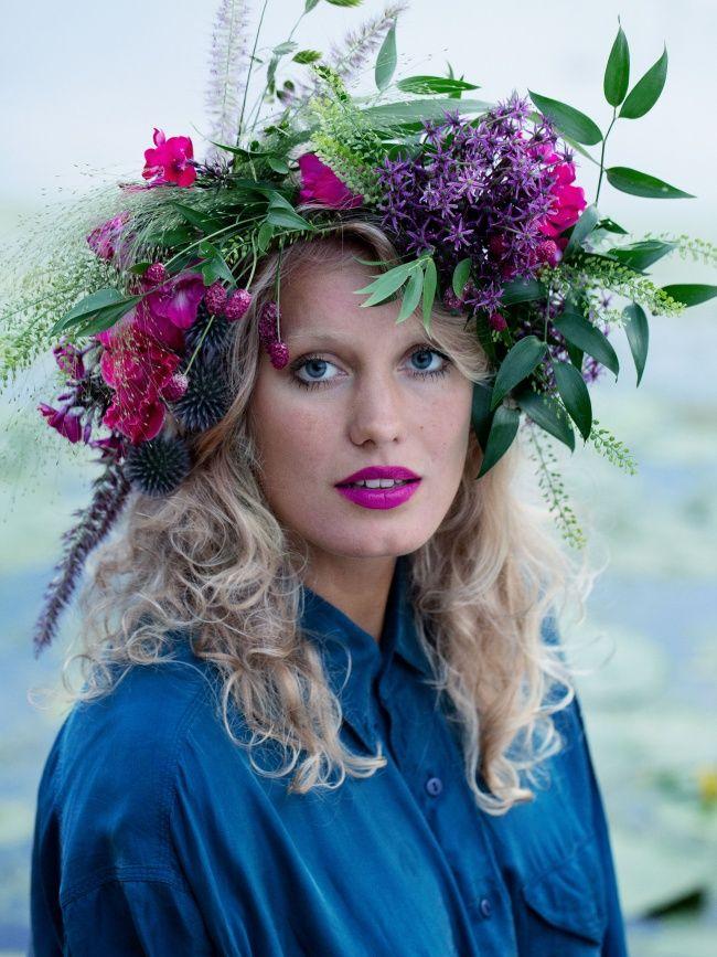 Romantisches Haar-Accessoire: ein Kranz aus blühenden Gartenpflanzen! #pflanzenfreude