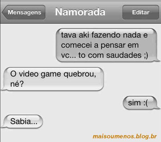 Eita que sofrência! Consola ele mina! kkkk Veja o post completo: http://boo-box.link/275SH   #whatsapp   #zzz   #humor   #videogames   #namorada