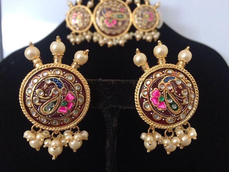 Zara Hand Painted Kundan Meena Choker With Earrings In 2019 Jewelry Jewelry Necklaces Earrings