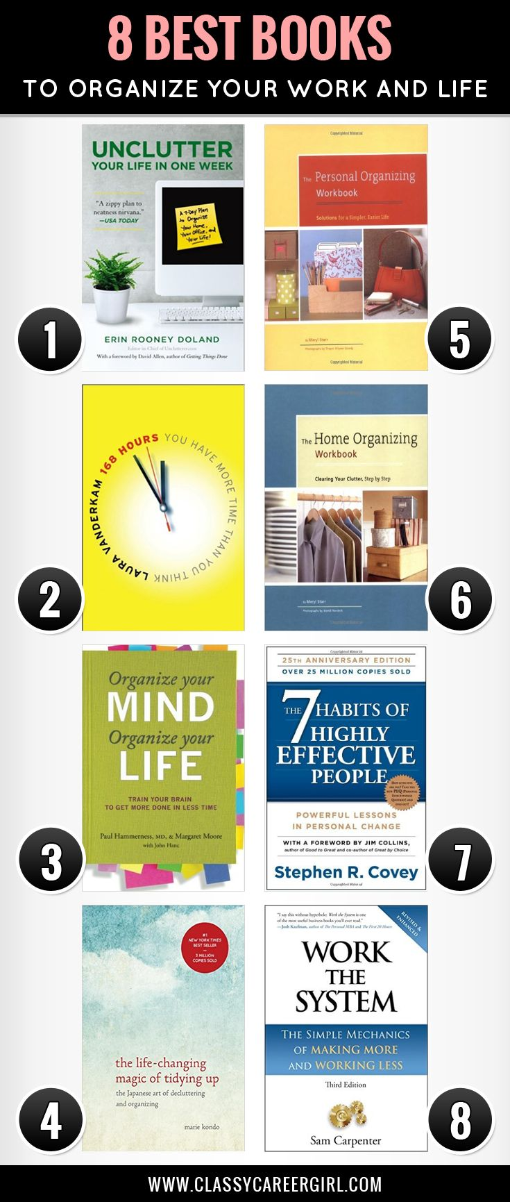 Need to get organized? These books are perfect for you. Check them out now. http://www.classycareergirl.com/2015/12/organize-your-life-books/