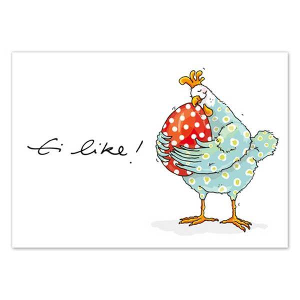 """krima&isa  Postkarte """"Ei like!"""" Für Gratulationen zum Abitur, zur bestandenen Führerscheinprüfung oder jedem sonstigen freudigen Anlass ist diese Karte von krima&isa genau das richtige. Das witzige bunte Huhn und der clevere Spruch entlocken dem Empfänger bestimmt ein kleines Schmunzeln und überbringen Deine Grüße auf humorvolle Art und Weise. Passende Postkarten für jeden Anlass findest Du beim weiterstöbern in unserem Shop."""