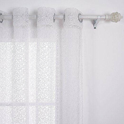Deconovo Voilage à Oeillet Spider Rideau Fil Blanc 140x240 cm